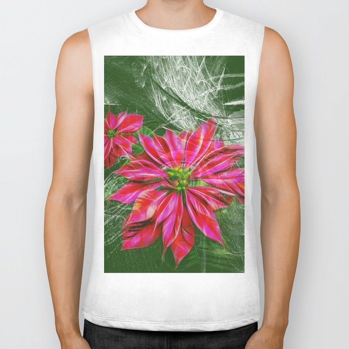 Abstract vibrant red poinsettia on green texture Biker Tank