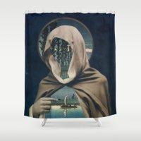 sailor Shower Curtains featuring SAILOR by Julia Lillard Art