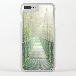 Suspension bridge in rainforest Clear iPhone Case