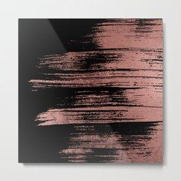 Modern black brushstrokes elegant faux rose gold Metal Print