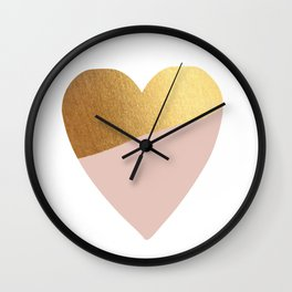 Heart of Gold (and Millennial Pink) Wall Clock