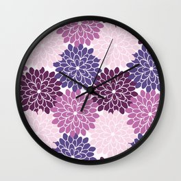 Floral Petal in Ultra Violet, Purple and Lavender Wall Clock