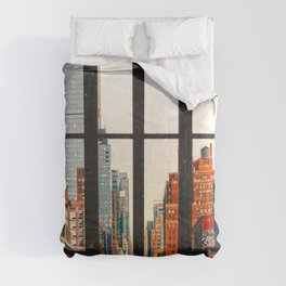 New York City Window #2-Surreal View Collage Comforters