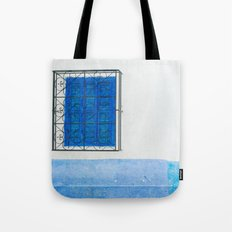 Two Blue Shuttered Windows Tote Bag