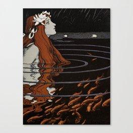 Franz Heinz illustration from Die Rheinlande - 1900 Magical Mermaid Mistical Fish Canvas Print