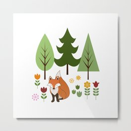 Scandinavian Fox Flowers Trees Illustration Metal Print