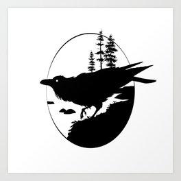 Raven Silhouette II Art Print