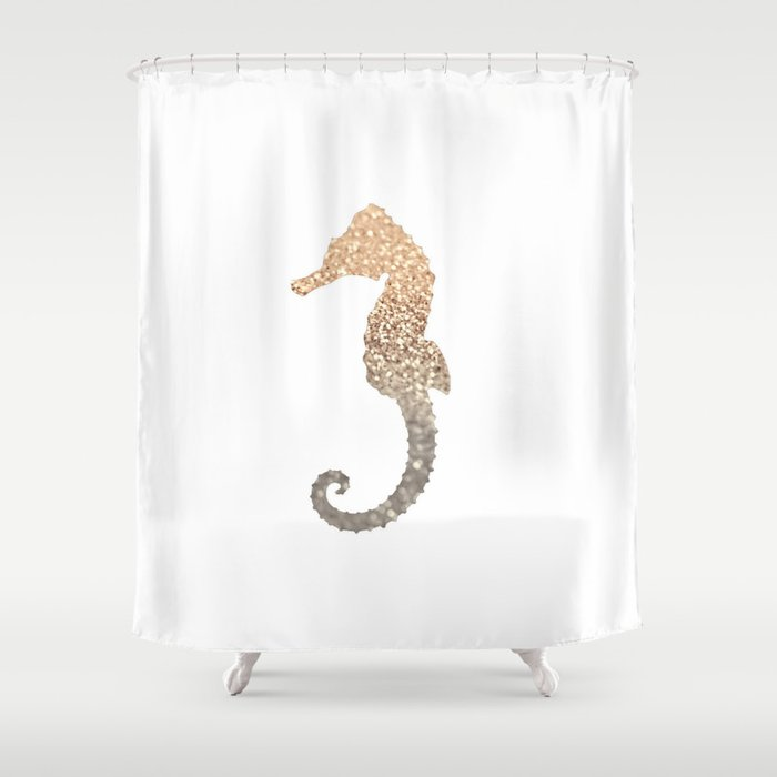 GOLD SEAHORSE Shower Curtain
