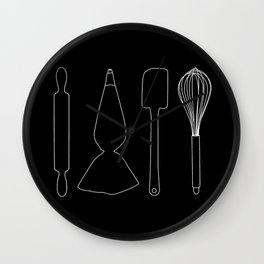 Baker Baking Tools -  Black Wall Clock