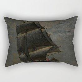 Schooner at Midnight off the Rhode Island Coast by James Gale Tyler Rectangular Pillow
