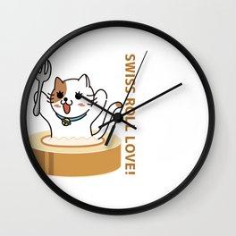 SWISS ROLL LOVE CAT Wall Clock