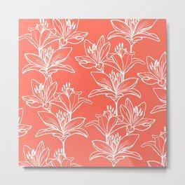 Lily Love in Coral Orange Metal Print