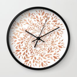 Rose Gold Leaves Mandala Wall Clock