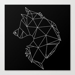 Geometric Wolf (White on Black) Canvas Print