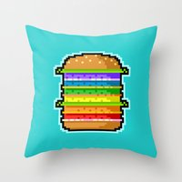 hamburger Throw Pillows featuring Pixel Hamburger by Sombras Blancas Art & Design