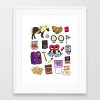 parks and recreation Framed Art Prints featuring Parks & Recreation  by Shanti Draws