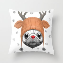 Pug Rudolph Throw Pillow