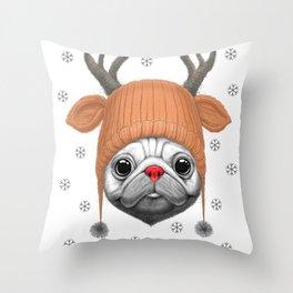 Pug Rudolph Throw Pillow