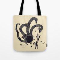 hydra Tote Bags featuring hydra(dark) by Louis Roskosch