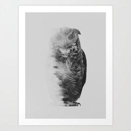 The Owl (black & white version) Art Print