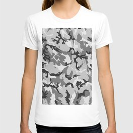 Grey White Black Camouflage T-shirt