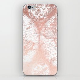 Rose Gold Pink Antique World Map by Nature Magick iPhone Skin