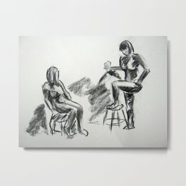 Nude Pair, Confrontation Metal Print