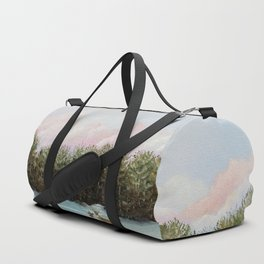 Pine View Deer Landscape Painting Art Duffle Bag