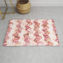 Abstract smoke tunnels, pink curvy shapes, texture design, crazy smoky print Rug