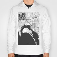 san diego Hoodies featuring San Diego Map Gray by City Art Posters