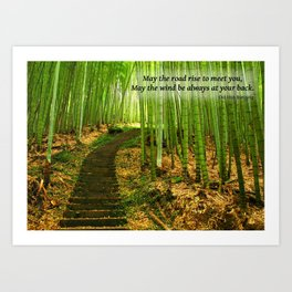 Lush Green Bamboo Forest with Quote Art Print
