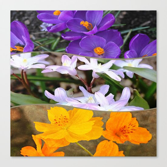 Spring Floral Collage Canvas Print