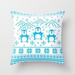 Cute Blue Scandinavian Penguin Holiday Design Throw Pillow