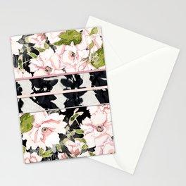 Pink Peony with Shibori Obi Band Print Stationery Cards