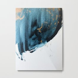 A Minimal Sapphire and Gold Abstract piece in blue white and gold by Alyssa Hamilton Art  Metal Print