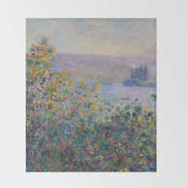 Flower Beds at Vetheuil by Claude Monet Throw Blanket