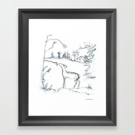Winter Scene with Deer, watercolor and ink Framed Art Print