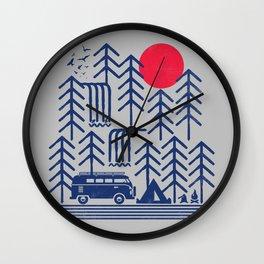 Camping Days / Van nature minimal birds sun Wall Clock