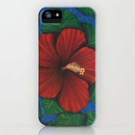 Tropical Hibiscus in Red island art painting iPhone Case
