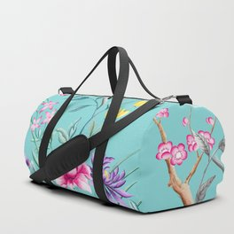 Chinoiserie Decorative Floral Motif Pale Turquoise Duffle Bag