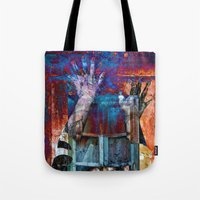 breaking Tote Bags featuring BREAKING WALLS  by CAPTAINSILVA