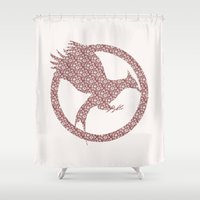 mockingjay Shower Curtains featuring Catching Fire - Floral Mockingjay by Elisa Gordon