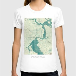 Jacksonville Map Blue Vintage T-shirt