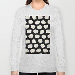 Trendy Cream Polka Dots on Black Long Sleeve T-shirt