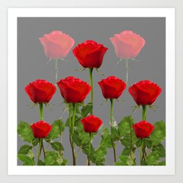 ORIGINAL GARDEN DESIGN OF RED ROSES ON GREY Art Print