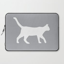 Cat silhouette cat lady cat lover grey and white square minimal modern pet silhouette pattern Laptop Sleeve
