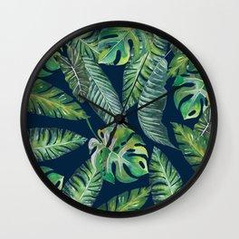 Jungle Leaves, Banana, Monstera, Blue Wall Clock