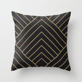 Diamond Series Pyramid Gold on Charcoal Throw Pillow