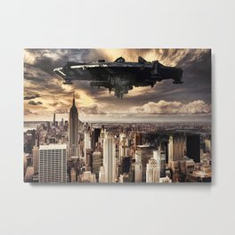 The alien ship over the New York Metal Print