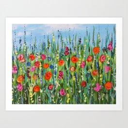 Wildflower Meadow2, Abstract Floral Art, Flower Field Art Print
